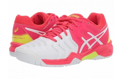 ASICS Kids GEL-Resolution® 7 GS Tennis (Little Kid/Big Kid) White/Laser Pink - SALE