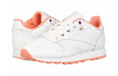Reebok Kids Classic Leather Perf (Little Kid) White/Pink/Teal/Aubergine - SALE