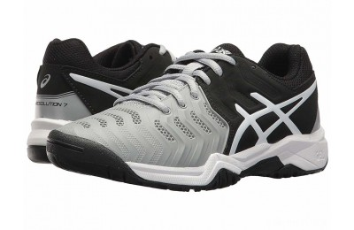 ASICS Kids GEL-Resolution® 7 GS Tennis (Little Kid/Big Kid) Mid Grey/Black/White - SALE