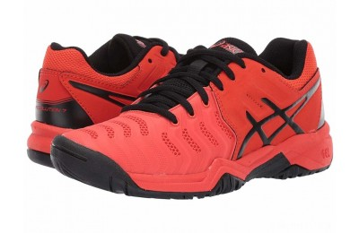 ASICS Kids GEL-Resolution® 7 GS Tennis (Little Kid/Big Kid) Cherry Tomato/Black - SALE